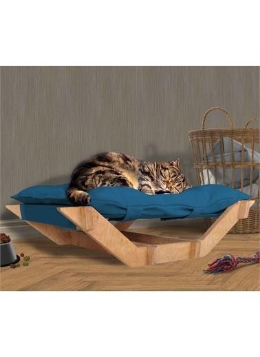 Woodesk Woodesk Dost Masif Ahşap Mavi Renk Kedi ve Köpek Yatağı Renkli